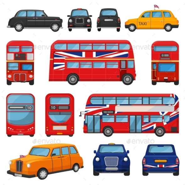London Car Vector British Cab Taxi and UK Red Bus - Man-made Objects Objects