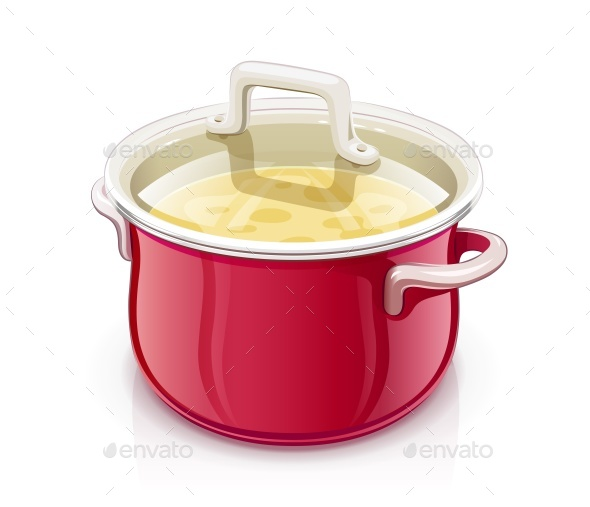 Red Saucepan with Lid - Food Objects