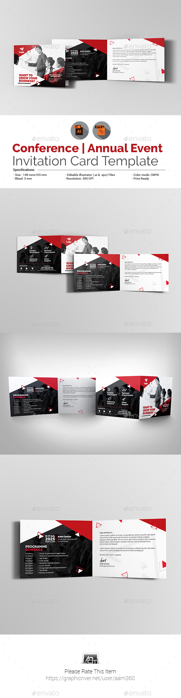 Business Event Invitation Card Template - Cards & Invites Print Templates