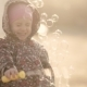 Little Girl Blows Soap Bubbles at Sunset - VideoHive Item for Sale