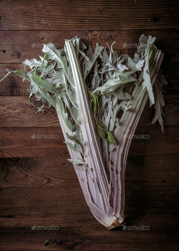 Whole uncooked cardoon on rustic wooden board - Stock Photo - Images