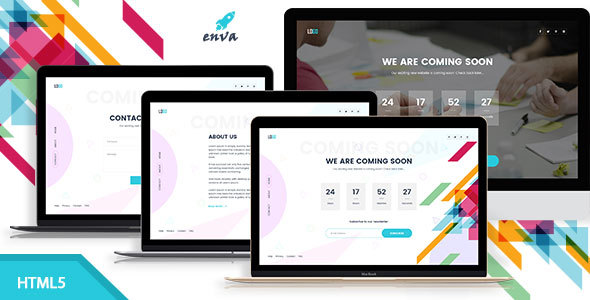 Enva - Creative Coming Soon Template - Under Construction Specialty Pages