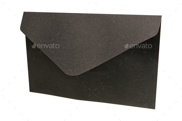 Black envelope on a white background - Stock Photo - Images