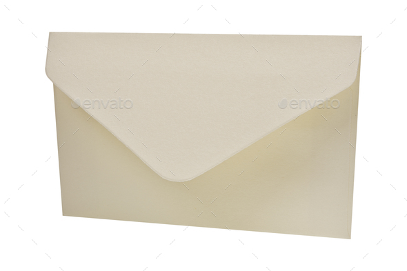 White envelope on a white background - Stock Photo - Images