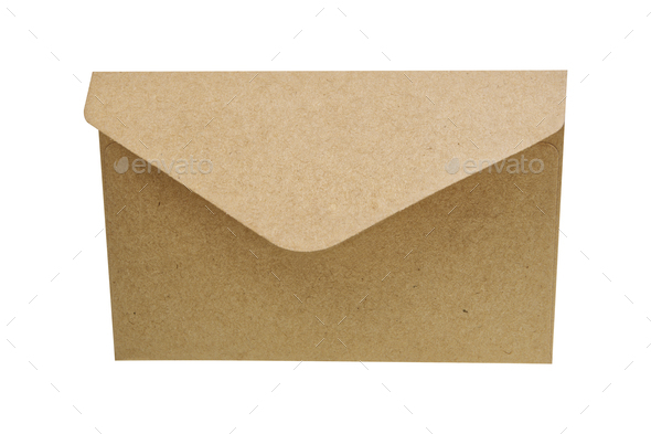 Natural paper envelope on a white background - Stock Photo - Images