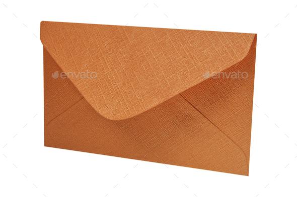Orange envelope on a white background - Stock Photo - Images