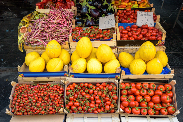 Fruits and vegetables at the market - Stock Photo - Images