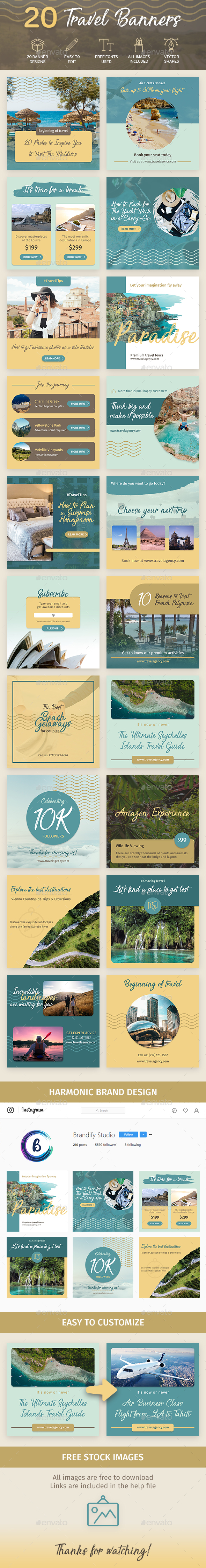 Travel Banners - Social Media Web Elements
