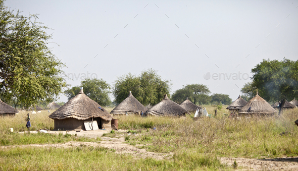 Village of grass huts in remote area of South Sudan. - Stock Photo - Images