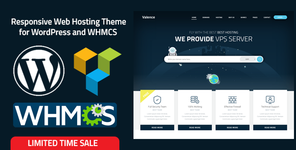 Valence - Website Hosting Company WordPress Theme + WHMCS - Hosting Technology