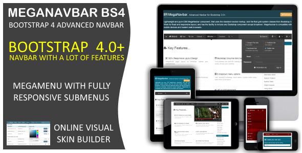 MegaNavbar BS4. Advanced Mega Menu for Bootstrap 4.0+ - CodeCanyon Item for Sale