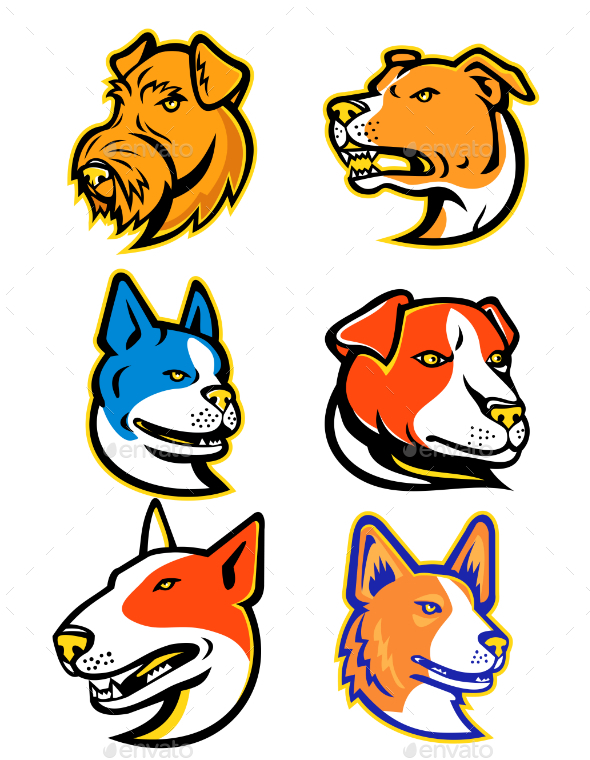 Terrier Dogs Mascot Collection Set - Animals Characters