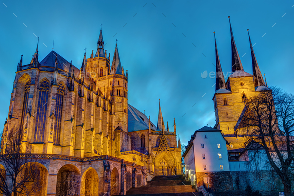 The famous Cathedral and Severi church in Erfurt - Stock Photo - Images