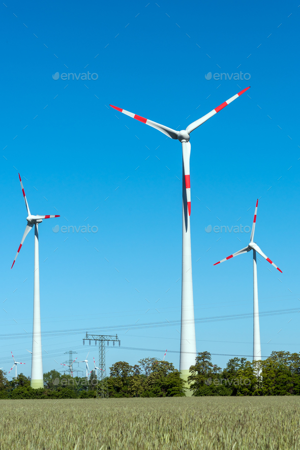 Modern wind engines on a sunny day - Stock Photo - Images