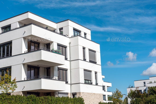 Modern white residential construction in berlin stock photo by modern white residential construction in berlin stock photo images malvernweather Choice Image