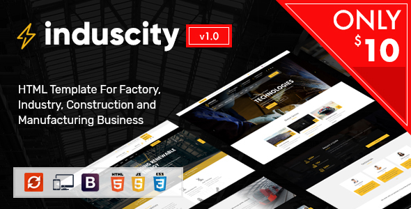 Image of Induscity - Industry / Factory / Engineering and Construction Business HTML Template