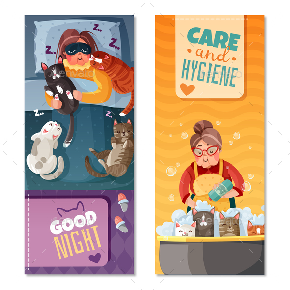 Lady With Cats Vertical Banners - People Characters