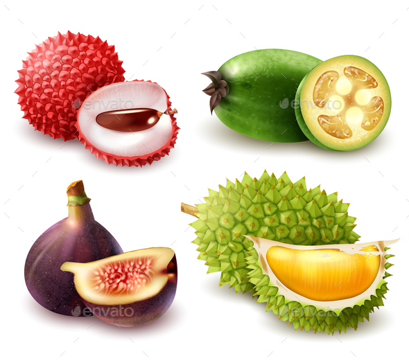 Realistic Exotic Fruits Set - Food Objects