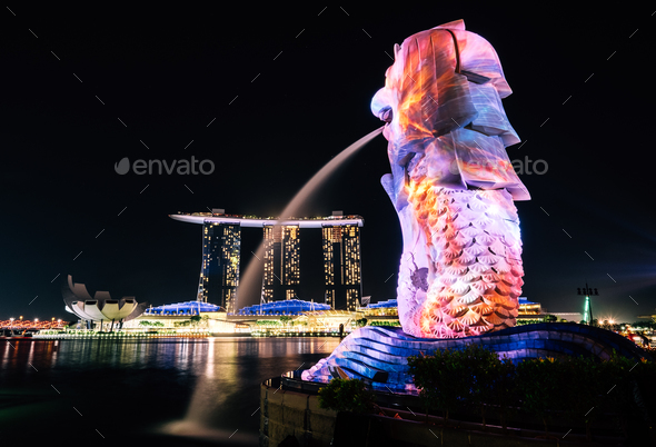 Colors of Merlion - Stock Photo - Images