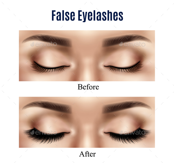 Eyes False Lashes Realistic Illustration - Miscellaneous Vectors