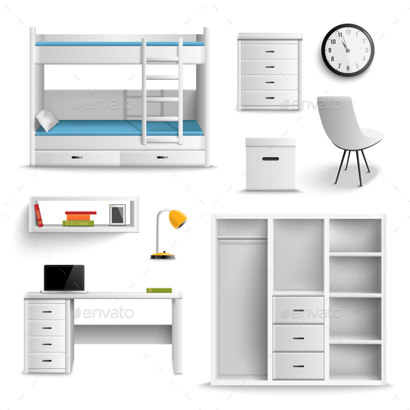Teen Room Realistic Elements - Miscellaneous Vectors