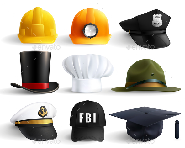 Different Professions Hats Set - Miscellaneous Vectors