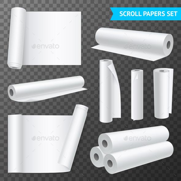 Clean White Paper Scrolls Transparent Set - Miscellaneous Vectors