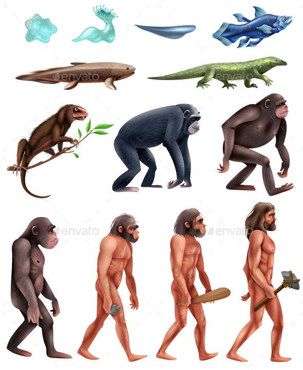Darwin Evolution Icon Set - People Characters