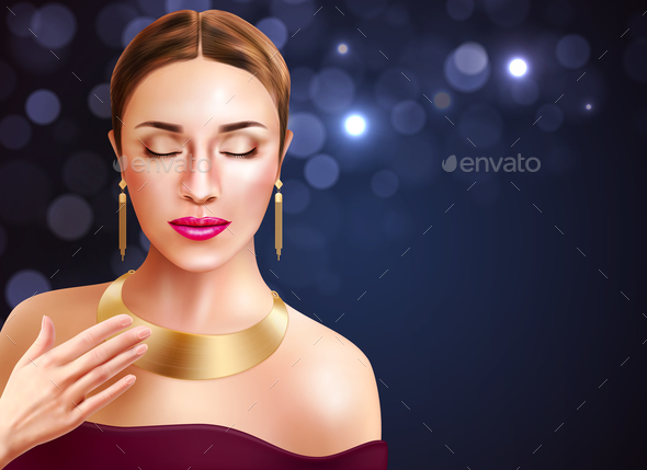 Woman And Jewelry Illustration - Backgrounds Decorative