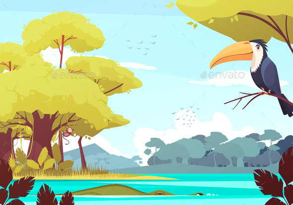 Jungle Landscape Cartoon Illustration - Animals Characters