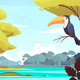 Jungle Landscape Cartoon Illustration