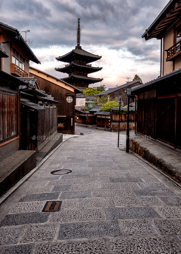 Streets of Gion - Yasaka Shrine - Stock Photo - Images