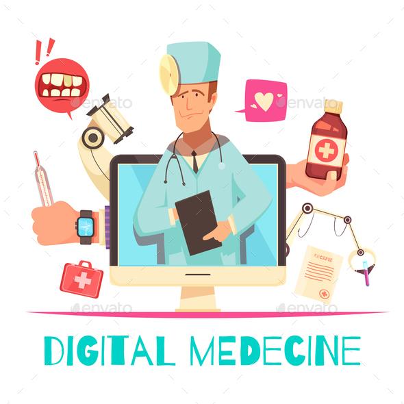 Digital Medicine Cartoon Composition - Health/Medicine Conceptual