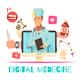 Digital Medicine Cartoon Composition