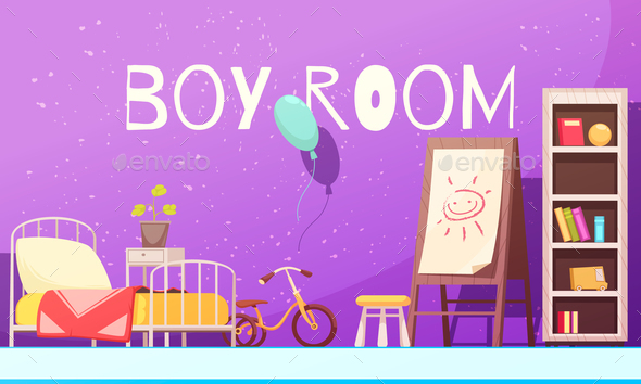 Boy Room Cartoon Illustration - Backgrounds Decorative