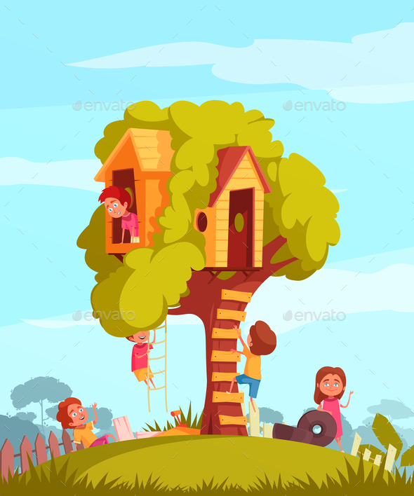 Tree House With Children Background - Nature Conceptual