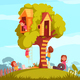 Tree House With Children Background