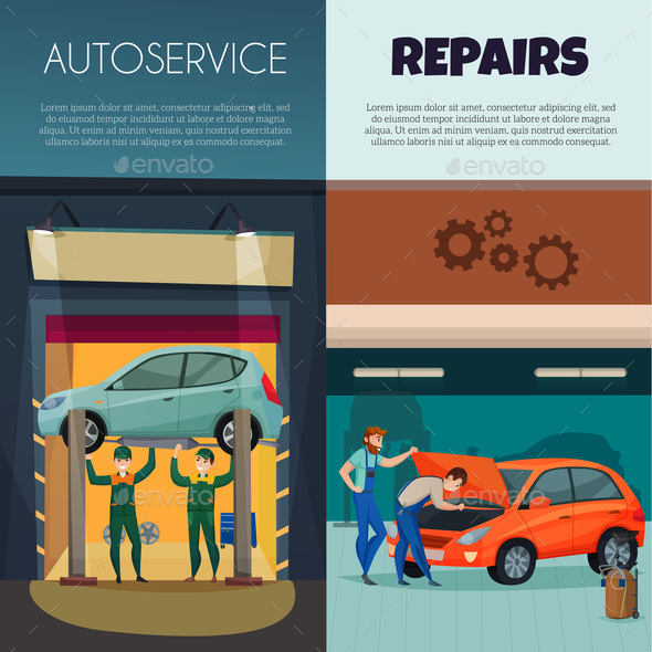 Car Service Vertical Banners Set - People Characters
