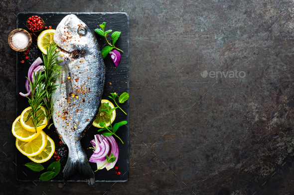 Fresh fish dorado. Raw dorado - Stock Photo - Images