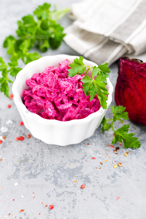Beet salad. Vegetable salad of boiled beet - Stock Photo - Images
