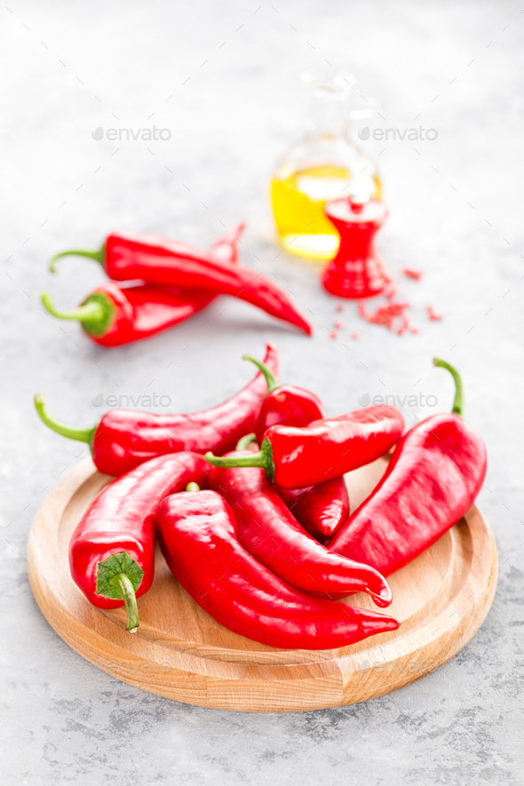 Sweet pepper on wooden board - Stock Photo - Images