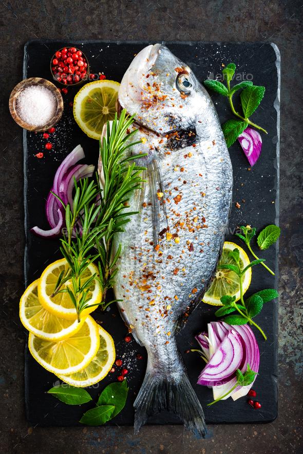 Fresh fish dorado. Raw dorado - Stock Photo - Images