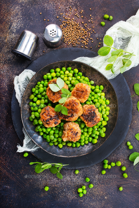 green peas with cutlets - Stock Photo - Images