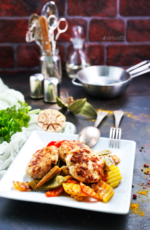 vegetables with cutlets - Stock Photo - Images