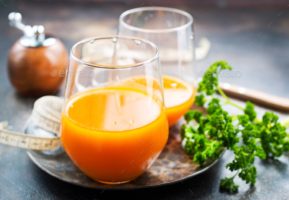 carrot juice and fresh carrot - Stock Photo - Images