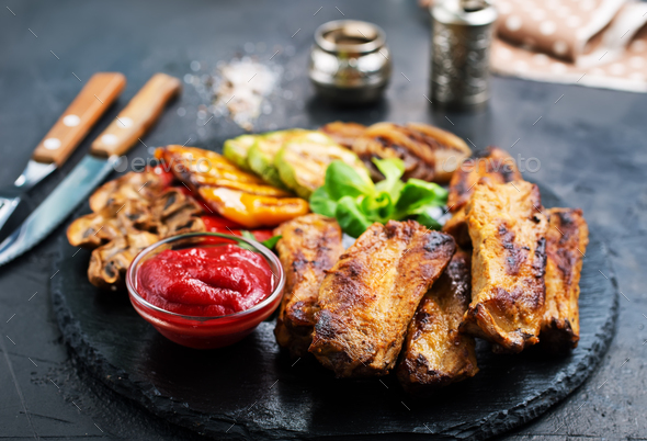 grilled meat - Stock Photo - Images