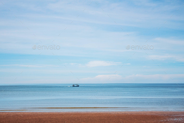 boat on the blue sea - Stock Photo - Images