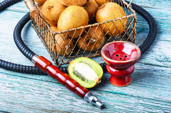 Still life with kiwi hookah - Stock Photo - Images