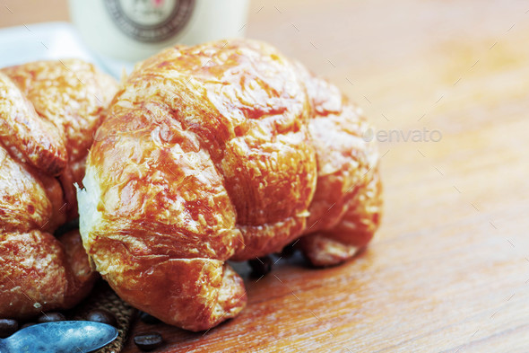 croissants on wooden - Stock Photo - Images