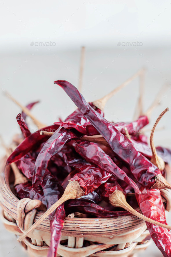 dried chillies with white background - Stock Photo - Images